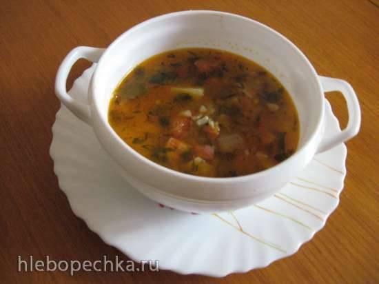 Суп с копчёной грудинкой, красной чечевицей и булгуром (Мультиварка Redmond RMC-02)