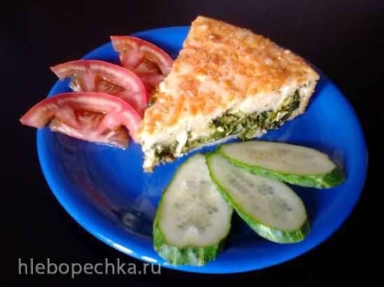 Заливной пирог с яйцами, зеленым луком и шпинатом