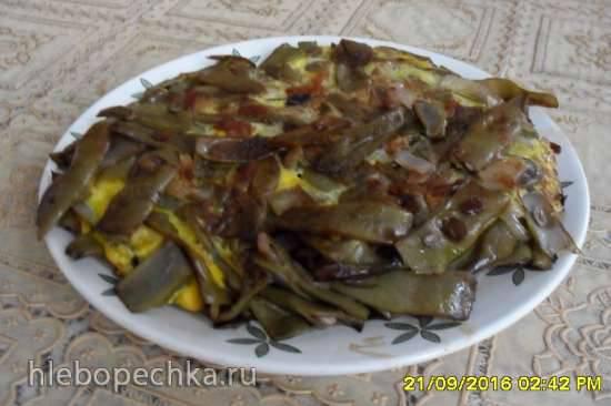 Спаржевая фасоль жареная с луком и яйцом