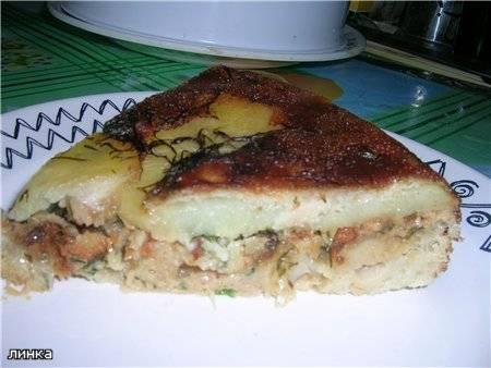 Пирог с картофелем и рыбой в мультиварке Panasonic SR-TMH18