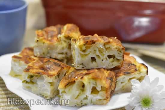 Заливной пирог с сырой капустной начинкой