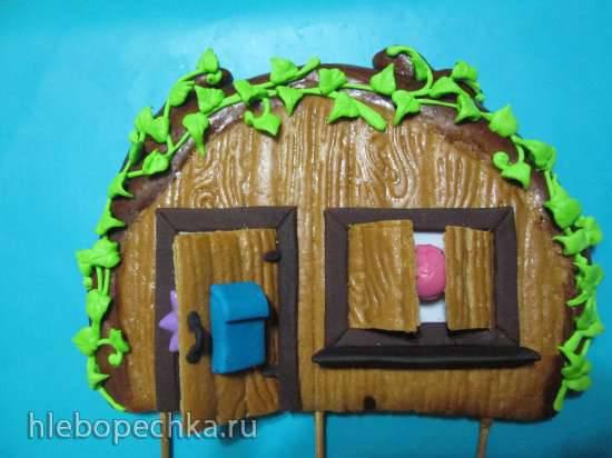 Стенка-домик из пряничного теста для торта