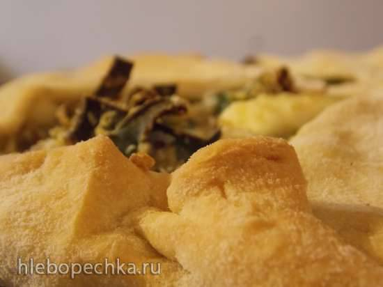 Пирог с луком-пореем, рисом и творогом