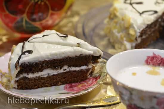 Воскресный шоколадный торт с зефирным кремом