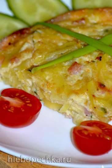 Гратен из картофеля с луком, яйцами и ветчиной Гратен из картофеля с луком, яйцами и ветчиной