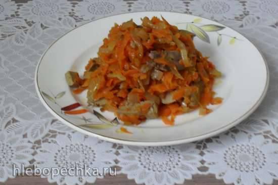 Тёплый салат из печени