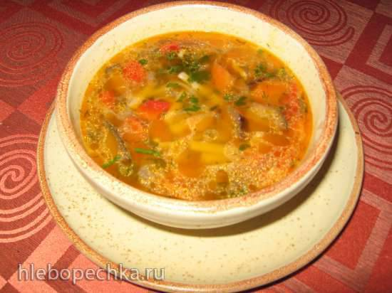 Куриный суп с баклажаном, сладким перцем и лапшой (мультиварка Redmond RMC-02, газовая панель)