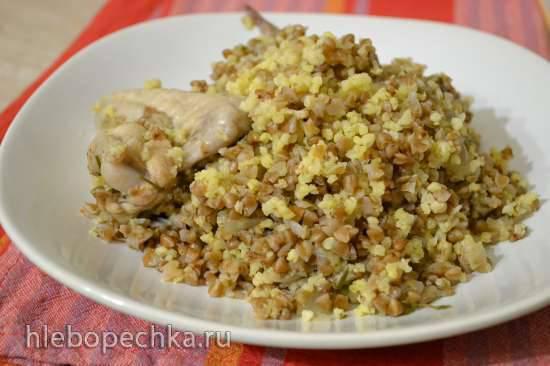 Каша гречнево-пшенная, с грибами и курицей (мультиварка Redmond RMC-01)
