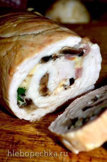 Рулет из филе индейки с грибами и сыром Рулет из филе индейки с грибами и сыром