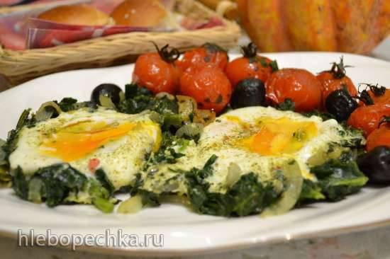Яйца в шпинате, с запеченными томатами черри (прибор для выпечки Tortilla Chef 118000 Princess)