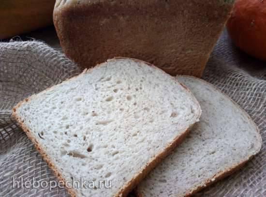 Ржано-пшеничный хлеб с льняной мукой на закваске, настое чайного гриба в хлебопечке Хлеб пшеничный яблочный с льняной мукой