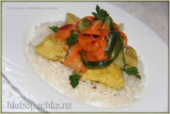 Тилапия в индийском стиле на подушке из риса с морковным салатом
