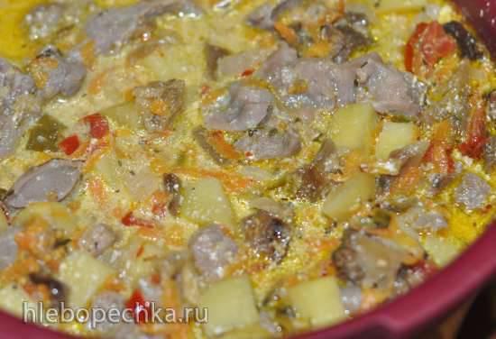 Куриные пупочки с овощами в ТапперКуке (скороварке для СВЧ)