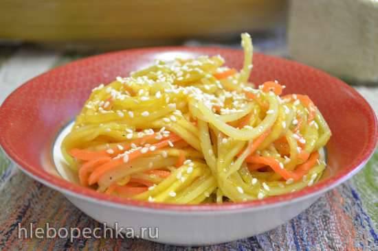 Спагетти овощные под апельсиновым соусом