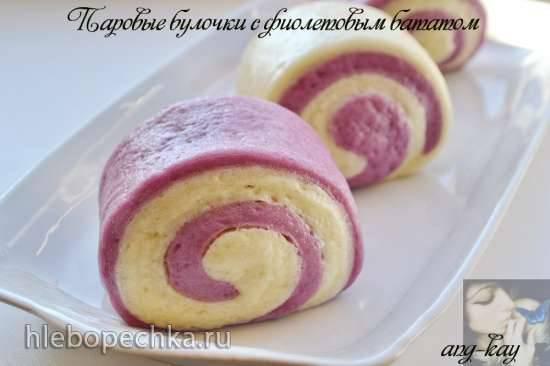 Паровые булочки с фиолетовым бататом