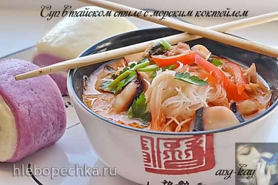Суп в тайском стиле с морским коктейлем (постный)