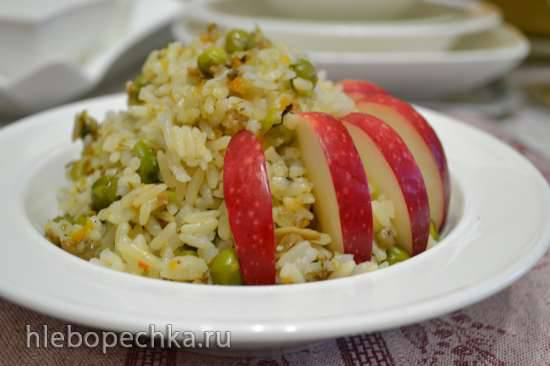 Каша-гарнир рисовая с грибами и зеленым горошком (мультиварка Redmond RMC-01) Каша-гарнир рисовая с грибами и зеленым горошком (мультиварка Redmond RMC-01)