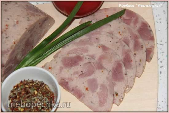"""Колбаса """"Итальянская"""" курино-индюшиная (ветчинница Tescoma)"""