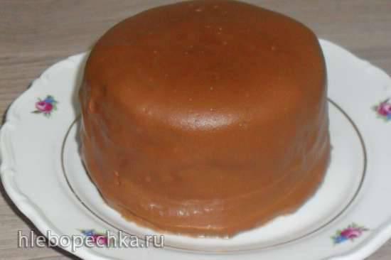Кекс-кулич из отрубей под шоколадной глазурью на агаре (в микроволновке)