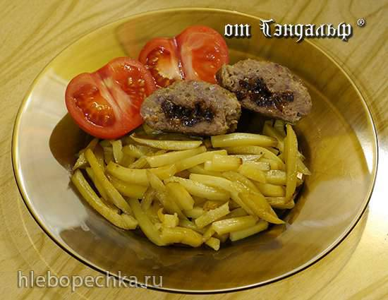 Жареная картошечка с мясными котлетами с черносливом в Princess