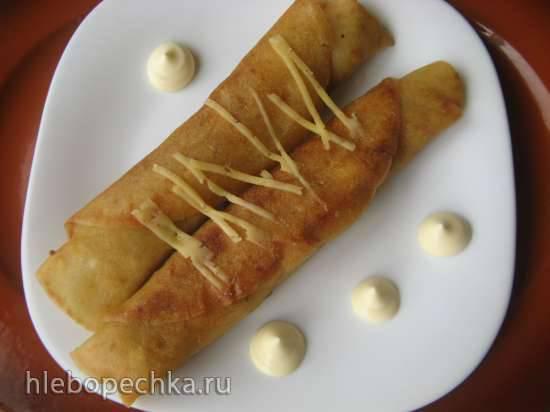 Творожные блинчики с начинкой из утиной печени