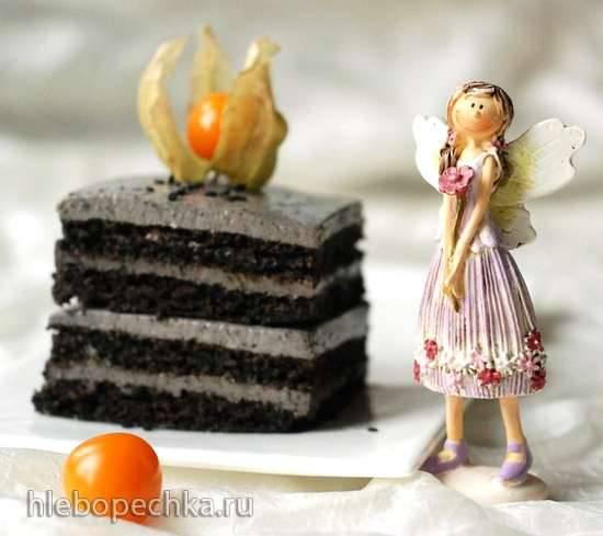 Пирожное с черным кунжутом и  муссом из йогурта