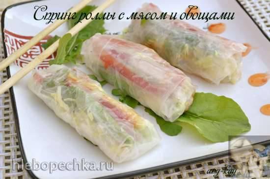 Спринг роллы с мясом и овощами Спринг роллы с мясом и овощами