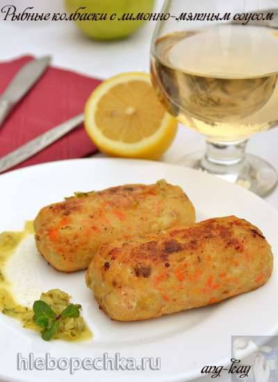 Рыбные колбаски с лимонно-мятным соусом