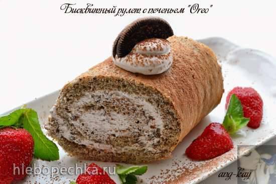 Бисквитный рулет с печеньем Оreo