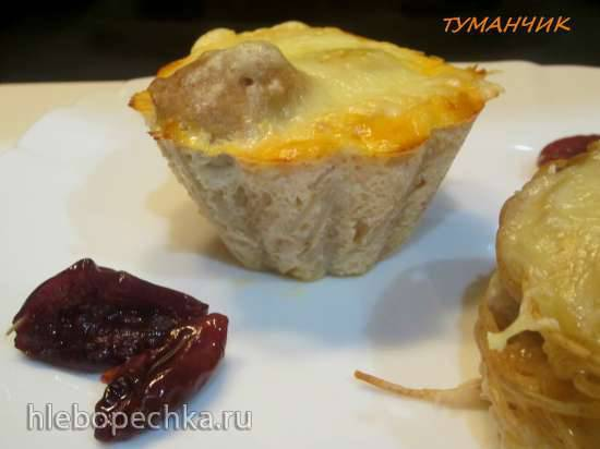 """Маффины """"Ласточкино гнездо"""" или небанальные макароны,котлета и сыр"""