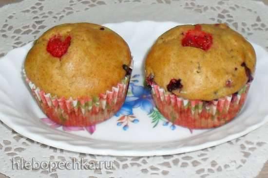 Мини-кексы лёгкие цельнозерновые с куркумой и абрикосовым джемом