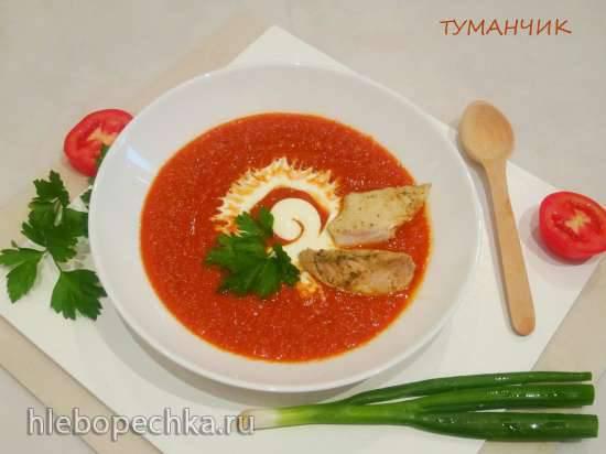 Суп-пюре из печеного перца и маринованных томатов с жареным куриным мясом
