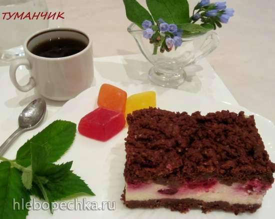 Шоколадный сметанник с ягодной или фруктовой начинкой Шоколадный сметанник с ягодной или фруктовой начинкой