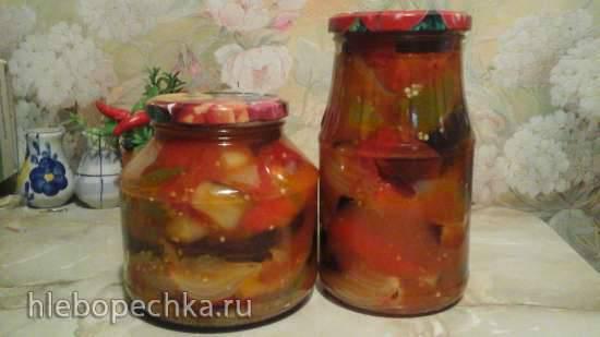 Салат баклажановый с ратундой в медовом маринаде