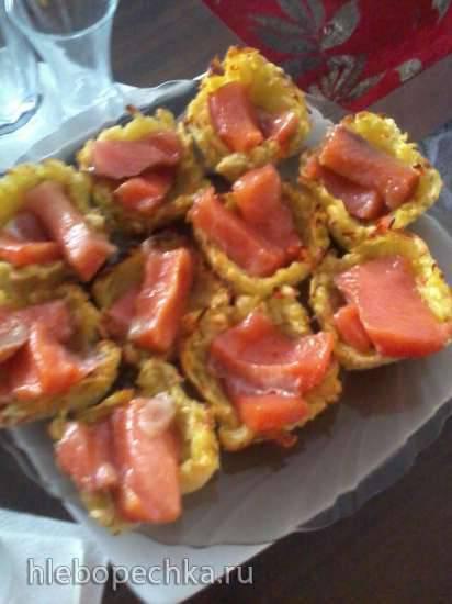 Картофельные тарталетки с грибной и рыбной начинкой