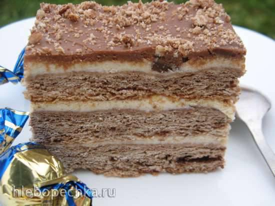 Торт шоколадный песочный с творожным кремом Торт шоколадный песочный с творожным кремом