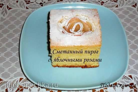 Пирог сметанный с курагой Сметанный пирог с яблочными розами
