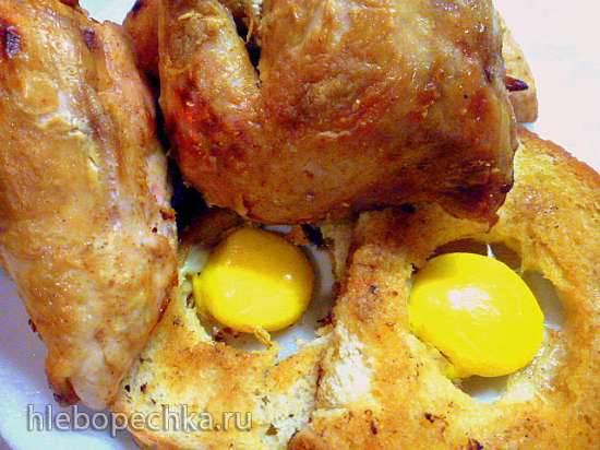 Цыпленок с желтками на крутонах Цыпленок с желтками на крутонах