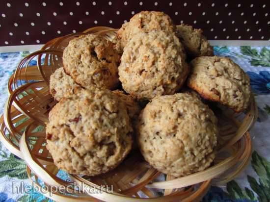 Овсяно-творожное печенье с изюмом