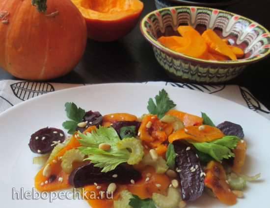 Запеченный салат из свеклы, тыквы и сельдереяЗапеченный салат из свеклы, тыквы и сельдерея