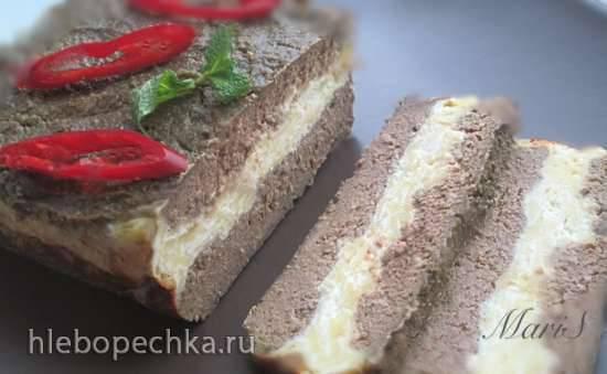 Кекс из куриной печени с творожной прослойкой
