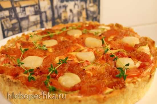 Пирог с цуккини, гребешками и сливочным сыром под томатным конфиПирог с цуккини, гребешками и сливочным сыром под томатным конфи