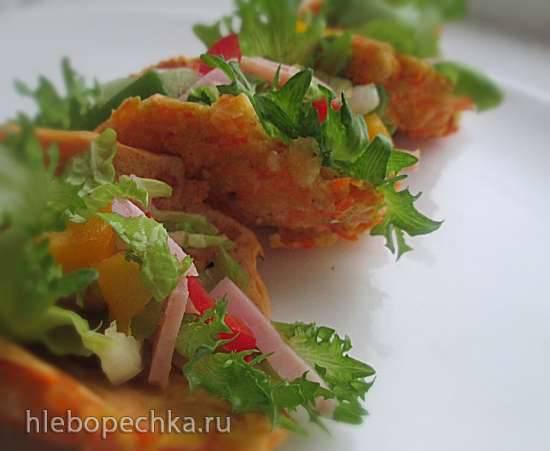 Такос, запеченные из моркови с ветчинным салатом