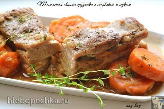 Томленая свиная грудинка с морковью и луком Томленая свиная грудинка с морковью и луком