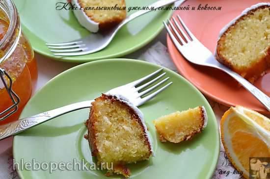 Кекс с апельсиновым джемом, семолиной и кокосом