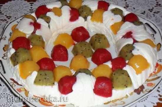Лёгкий творожно-йогуртовый десерт с фруктовыми мармеладками на агаре