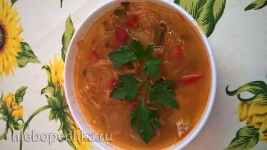 Щи из квашеной капусты с постной свининой (блюдо для больных диабетом 2 типа)