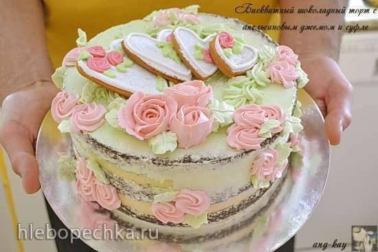 Шоколадный бисквитный торт с апельсиновым джемом и суфле Je t'aime
