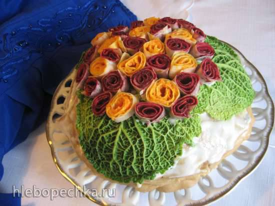 """Блинный торт закусочный """"Букет"""" Блинный торт закусочный """"Букет"""""""