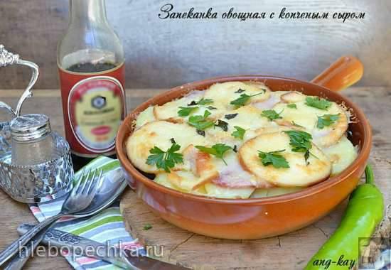 Запеканка овощная с копченым сыром